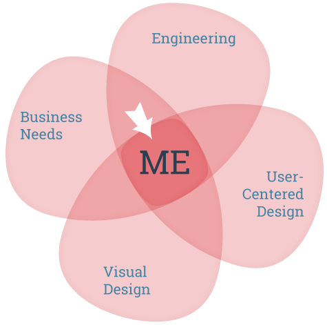 My skills lie in the intersection of business needs, visual design, user-centered design, and engineering